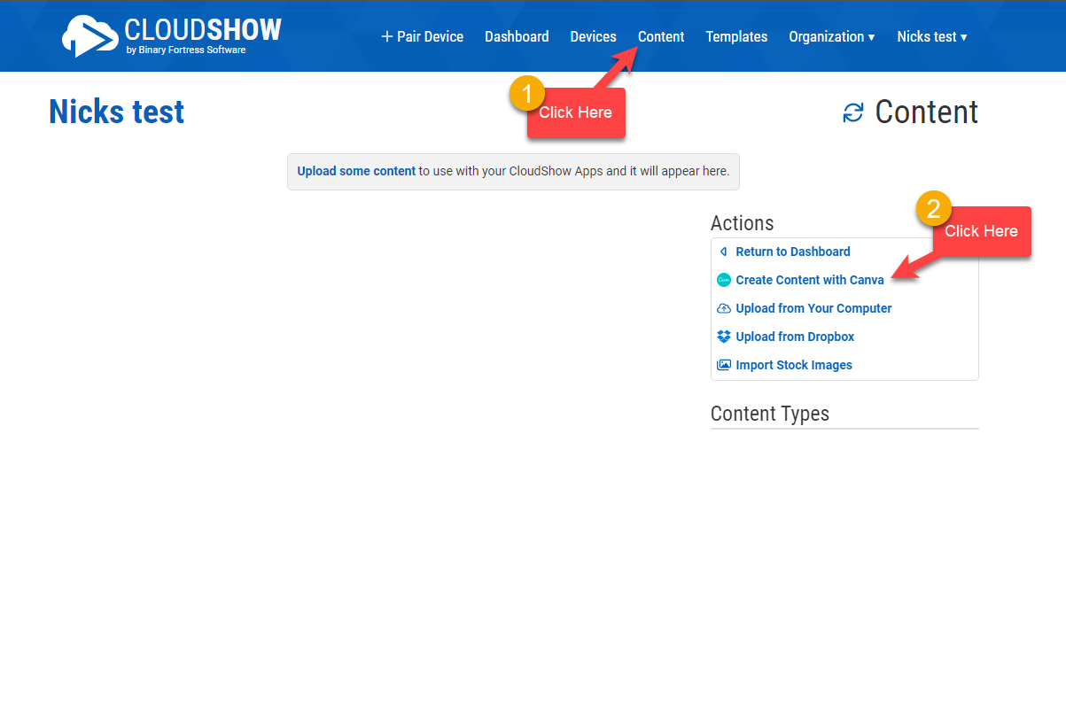 New Content Management Page
