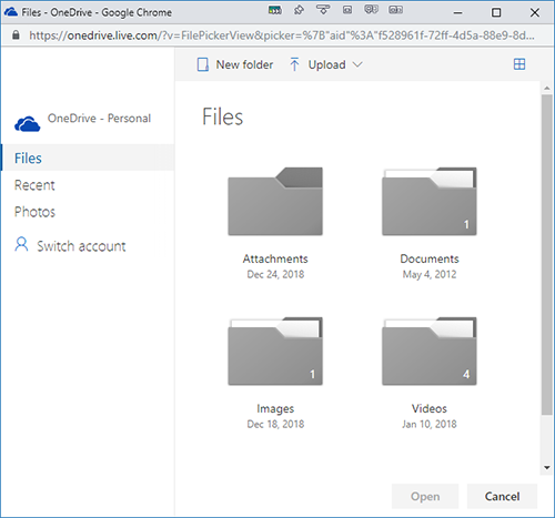 Upload from Microsoft OneDrive